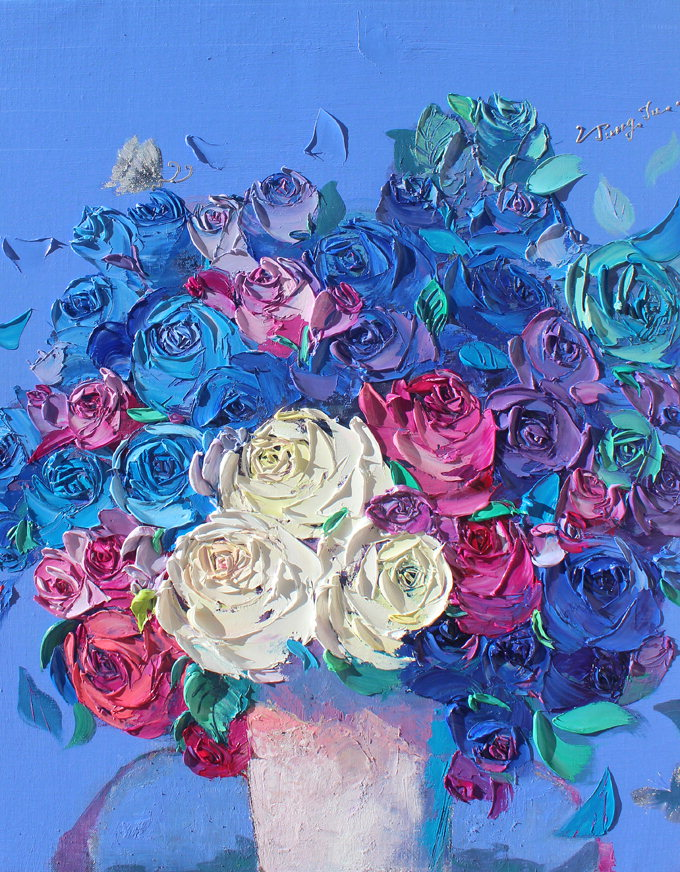 나이프로 그린 입체적 꽃…강정주展