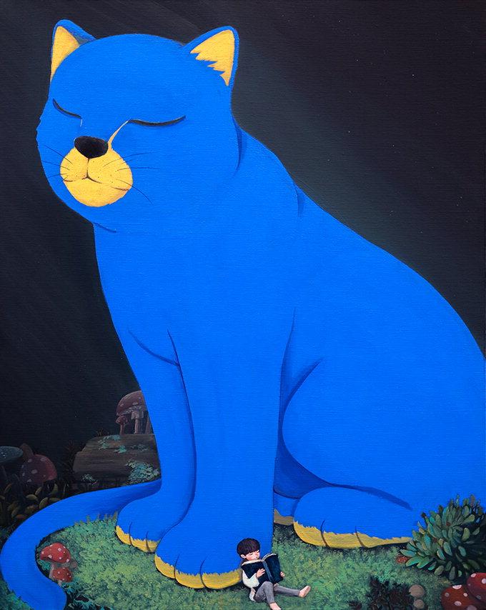 '빨간 코끼리' 작가, 이번엔 '푸른 고양이' 첫 공개