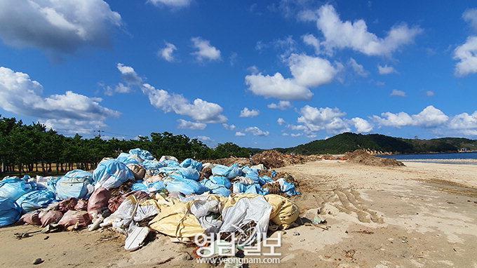 태풍 지나간 후…쓰레기장된 염전해변 모래사장