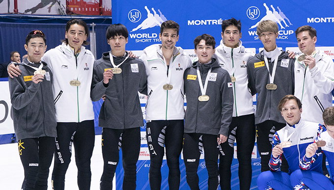 한국 남자 쇼트트랙 월드컵 5천m 계주 '날 들이밀기'로 공동 우승