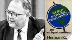 박정희 정권의 경제개발 5개년 계획에 대해 언급하고 있는 허먼 칸 박사의 '세계경제발전, 1979년 이후(World Economic Development, 1979 and Beyond)'라는 저서 표지.