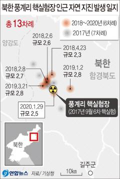 北 2017년 핵실험이후 잇단 자연지진...풍계리 일대서 13차례