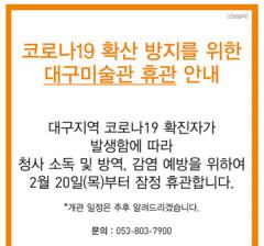 코로나19 무더기 확진에 대구 주요 문화예술기관들 휴관 '초강수'