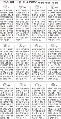 [오늘의 운세] 11월11일 (음 9월26일) (오늘의 띠별 운세) (생년월일운세)