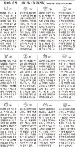 [오늘의 운세] 11월12일 (음 9월27일) (오늘의 띠별 운세) (생년월일운세)