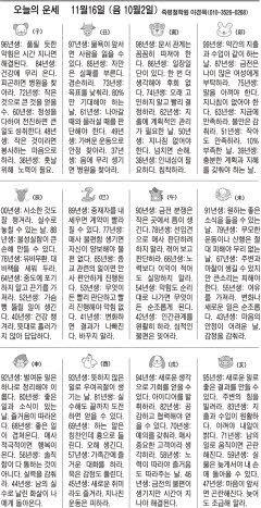 [오늘의 운세] 11월16일 (음 10월2일) (오늘의 띠별 운세) (생년월일운세)