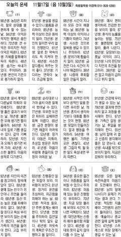 [오늘의 운세] 11월17일 (음 10월3일) (오늘의 띠별 운세) (생년월일운세)