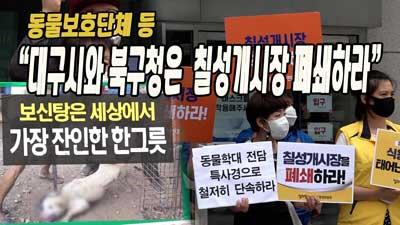 동물보호단체 등 ``대구시와 북구청은 칠성개시장 폐쇄하라``